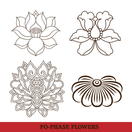 chinese virtual po-phase flowers pattern sets: lotus,Paeonia suffruticosa, chrysanthemum composition Vector