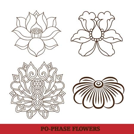 kinesisk virtuell po-fas blommor mönster sätter: lotus, Paeonia suffruticosa, krysantemum sammansättning