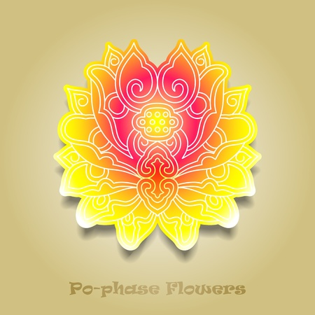 chinese virtual po-phase flowers: lotus,Paeonia suffruticosa, chrysanthemum composition Vector