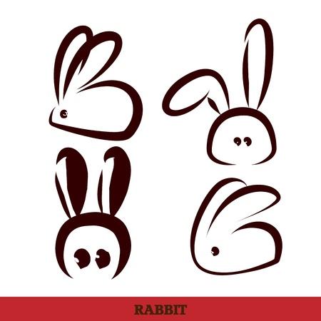 silhouette lapin: vecteur: écriture à la main lapin,, noir et blanc
