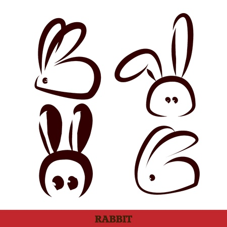 asian bunny: vector: rabbit, hand writing,black and white