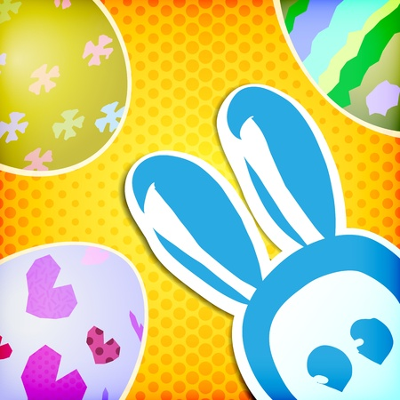 happy easter greeting card, bunny eggs Vector