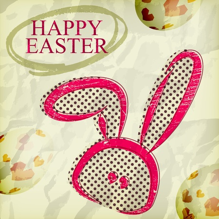 Grunge happy easter greeting card, bunny eggs Vector