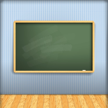 classroom chalkboard: vector: empty school blackboard at blue wall in interior with wooden floor