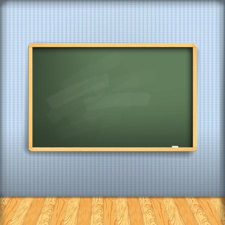 salon de clases: vector: pizarra de la escuela vac�a en la pared azul en el interior con suelo de madera