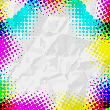 Abstract Grunge colorful Halftone  Vector