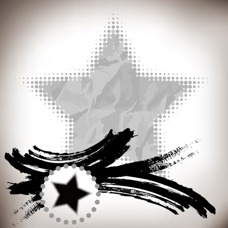 five stars: asian abstract brushwork and five-pointed star background