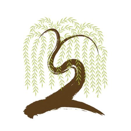 Vektor-künstlerischen asiatischen Pinselführung Weidenbaum Standard-Bild - 12809458