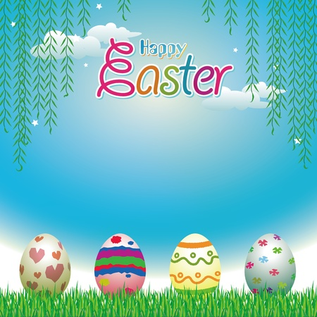 Easter eggs greeting cards with Leaves  sky background Illustration