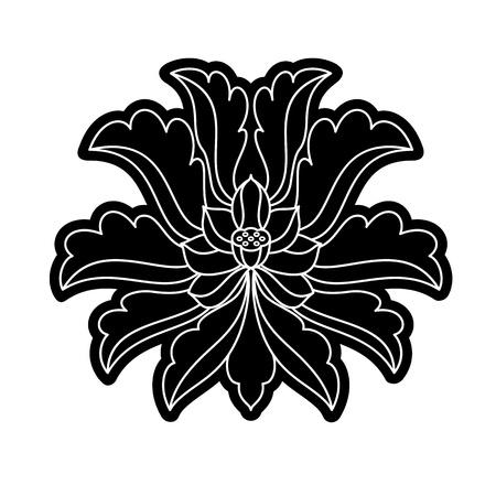 chinese virtual po-phase flowers  lotus,Paeonia suffruticosa, chrysanthemum composition Illustration