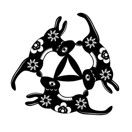 conejo vector, escritura a mano, blanco y negro