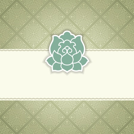 pastel flowers: flower background on seamless damask pattern with space for your text