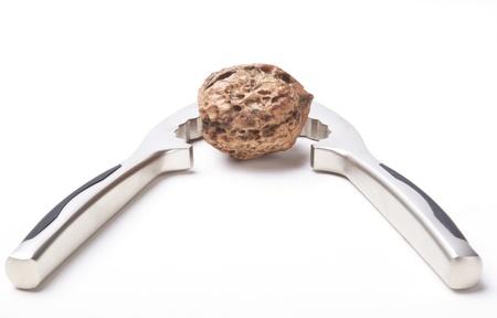 nut cracker: nut cracker and Walnut on white background