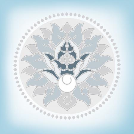 indian yoga: cinese virtuale po-fase di fiori di loto, Paeonia suffruticosa, crisantemo composizione Vettoriali