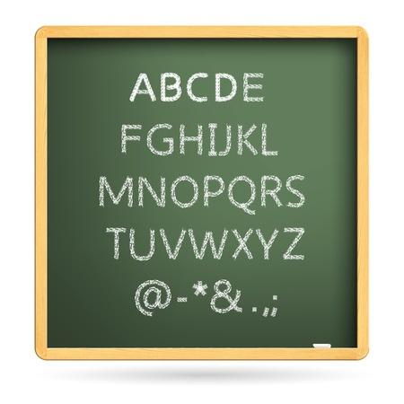 twenty six:  Uppercase twenty six letters of English alphabet, white chalk handwriting on blackboard