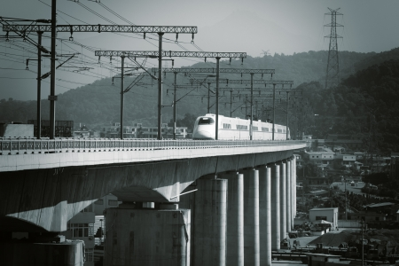 supertrain  on Concrete Bridge,at The southeast coast of China photo