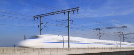bullet train: supertrain  on Concrete Bridge,at The southeast coast of China Editorial