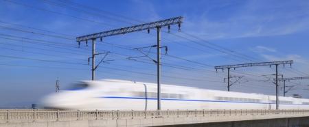 supertrain  on Concrete Bridge,at The southeast coast of China Editorial