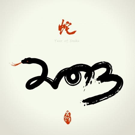 dragon chinois: 2013 Année chinoise Vecteur de Snake, An de l'Asie lunaire Illustration