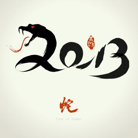 2013 Vektor kinesiska året av orm, Asiatiska Lunar Year