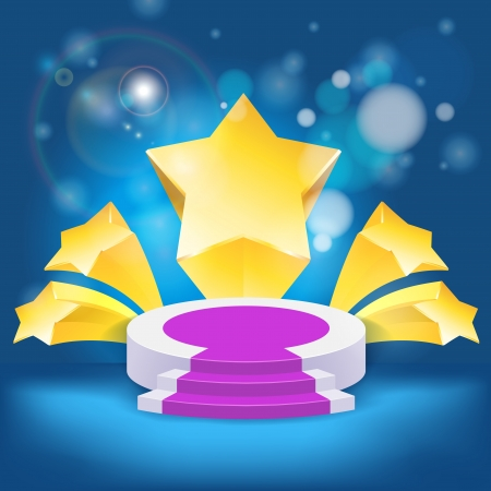 honour succeed podium  rostrum with divergent stars background Vector