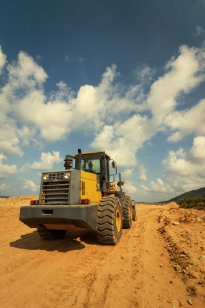 construction vehicle: Bulldozer at Construction Site Stock Photo