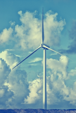 vestas: Wind power installation in  cloudy sky