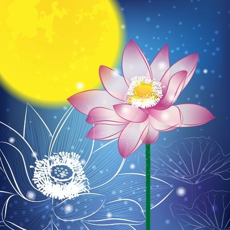moon cake festival: Lotus and Moon at Night, The Mid-Autumn festival Illustration
