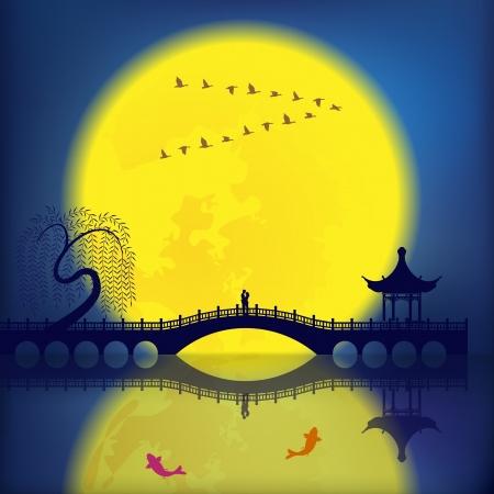 東洋古代景観: アーチ橋、パビリオン、ヤナギ、魚および月