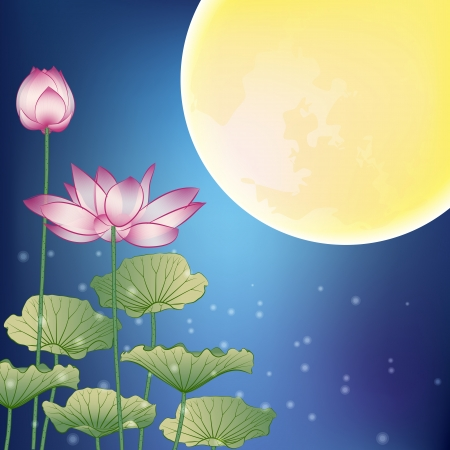 moon cake festival: Lotus and Moon at Night, The Mid-Autumn festival Illustration