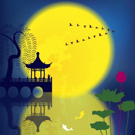 Oriental Ancient landskap: Arch Bridge, Pavilion, Willow, fisk och månen Illustration