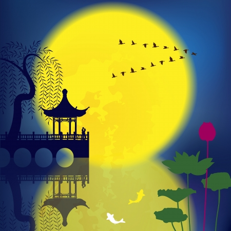 traditonal: Oriental Ancient Scenery: Arch Bridge, Pavilion, Willow, Fish and Moon