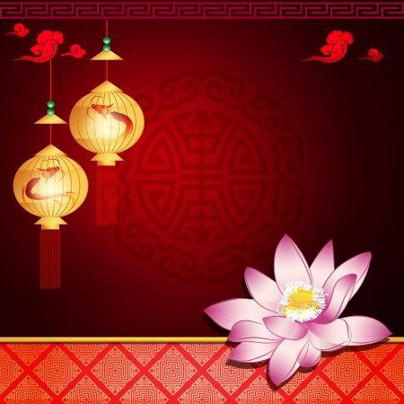 traditonal: Oriental pattern  lantern and lotus with space for text or image Illustration