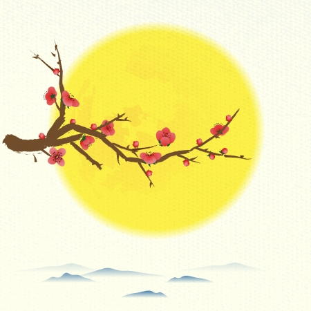 tao: Oriental pattern  Moon and plum above the distance mountains with space for text or image