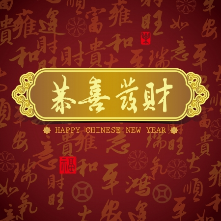 hanzi: Chinese New Year greeting card background  Wishing you prosperity,  good luck with some text Illustration