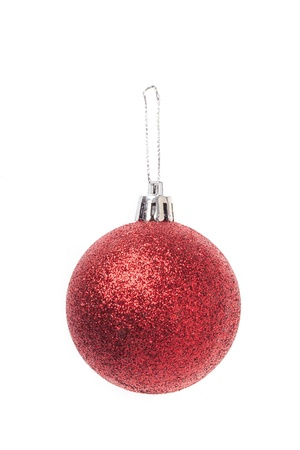 Christmas red baubles isolated on white background Stock Photo - 15821617