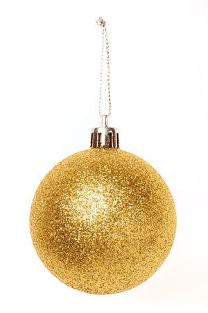 Christmas golden baubles isolated on white background Stock Photo - 15821619