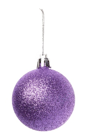 cristmas: Christmas purple baubles isolated on white background Stock Photo