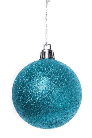 Christmas blue baubles isolated on white background Stock Photo - 15821620