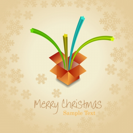 tridimensional: Christmas beige background with open gift  box