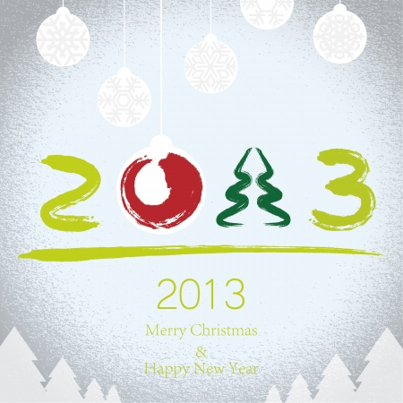 2012 Merry Christmas and 2013 Happy New Year background Stock Vector - 16712543