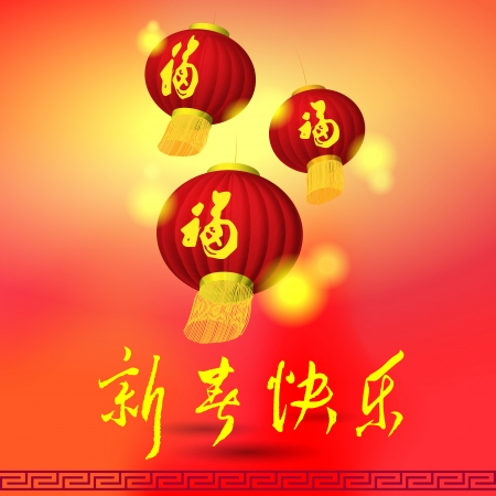 chinese art: Chinese lamp, New Year Greeting Illustrations,Word Meaning is  Happy New Year