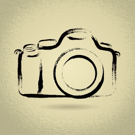 DSLR Camera Illustration with Brushwork Illustration