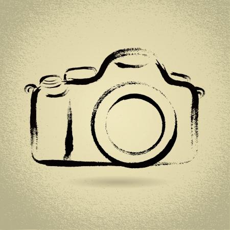 photo camera: Illustrazione DSLR fotocamera con pennellate Vettoriali