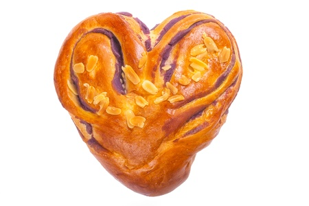 heart shaped bread with love on white background   clipped path  Stock Photo - 17172275
