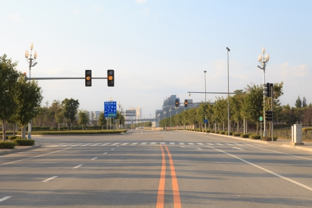 Traffic Lights Markings On City Junction Road In The Morning Stock Photo - 17338472