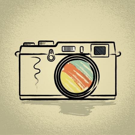 photography: Messsucherkamera Illustration mit Brushwork