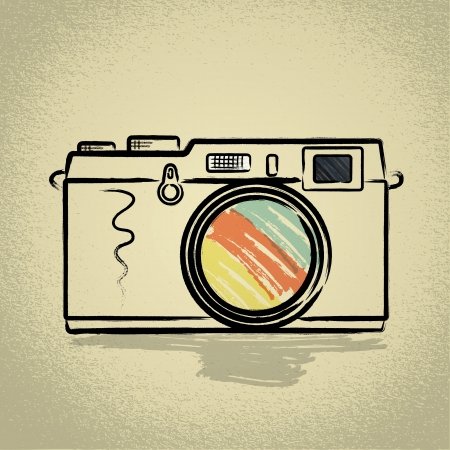 slr camera: Rangefinder camera Illustration with Brushwork
