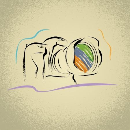 DSLR Camera Illustration with Brushwork Ilustrace