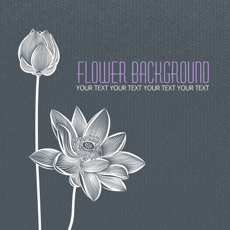 Modern abstract flower blue-gray background, with space for title text
